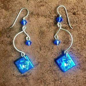 Jewelry - Dichroic glass and beadwork earrings